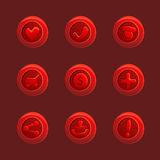 Reeks rode vectorelementen voor Ui-Spel royalty-vrije illustratie