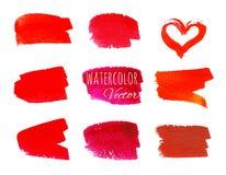 Reeks rode verfkwaststreken stock illustratie