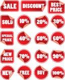 Reeks rode verkoopetiketten Royalty-vrije Stock Afbeelding