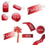 Reeks rode verkoopmarkeringen Stock Fotografie
