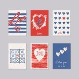 Reeks romantische kaarten stock illustratie