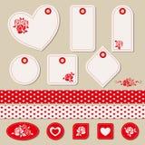 Reeks romantische markeringen, stickers, linten Stock Afbeeldingen