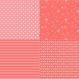 Reeks romantische naadloze patronen met harten (het betegelen) Roze kleur Vector illustratie Achtergrond De vorm van het hart Stock Afbeeldingen