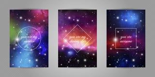Reeks romantische prentbriefkaaren voor geliefd met ruimte en van de sterren achtergrond en liefde citaten royalty-vrije illustratie