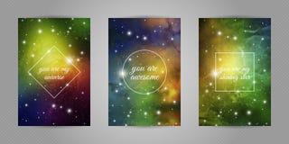 Reeks romantische prentbriefkaaren voor geliefd met ruimte en van de sterren achtergrond en liefde citaten vector illustratie