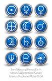 Reeks rond gemaakte pictogrammen voor de planeten, de zon en de maan met Venus, M Stock Foto