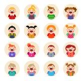 Reeks ronde die avatars op witte achtergrond wordt geïsoleerd Royalty-vrije Stock Foto's