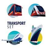 Reeks ronde emblemen met bus, trein, vliegtuig, schip Royalty-vrije Stock Foto's