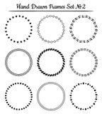 Reeks ronde hand getrokken kaders Vector illustratie Stock Afbeeldingen