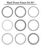 Reeks ronde hand getrokken kaders Vector illustratie Royalty-vrije Stock Fotografie