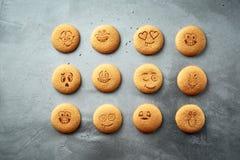 Reeks ronde koekjes met verschillende emoties, gezichten met emoties Royalty-vrije Stock Afbeelding