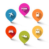 Reeks ronde vlakke vervoerwijzers Stock Afbeelding