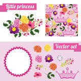 Reeks roze bloemenelementen met kroon verzamel Royalty-vrije Stock Foto
