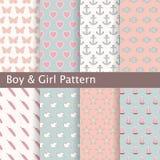 Reeks roze en blauwe naadloze patronen Ideaal voor babyontwerp Stock Foto's