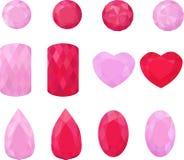 Reeks roze en rode juwelen Kleurrijke halfedelstenen Robijnen op wit Stock Afbeeldingen