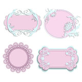 Reeks roze kaders voor meisjes Stock Afbeeldingen