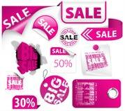 Reeks roze kortingselementen Stock Foto's