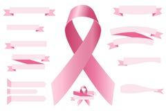 Reeks roze linten Royalty-vrije Stock Foto's