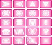 Reeks roze pictogrammen Stock Afbeelding