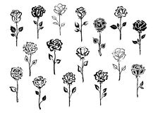 Reeks roze pictogrammen Stock Foto's