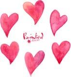 Reeks roze waterverf vectorharten Royalty-vrije Stock Fotografie