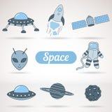 Reeks ruimtepictogrammen Stock Foto