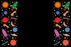 Reeks ruimtevoorwerpen op zwarte achtergrond stock illustratie