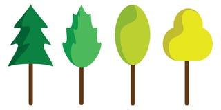 Reeks samenvatting gestileerde bomen Stock Afbeelding