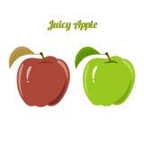 Reeks sappige groene en rode die appelen op a worden geïsoleerd Stock Afbeelding