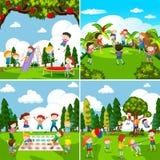 Reeks scènes van kinderen het spelen vector illustratie