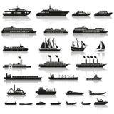 Reeks schepen en boten royalty-vrije illustratie