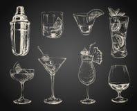 Reeks schetscocktails en alcoholdranken Royalty-vrije Stock Afbeelding