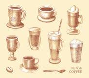 Reeks schetsen van koppen van koffie en thee stock illustratie
