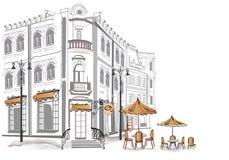 Reeks schetsen van straatkoffie Stock Afbeelding