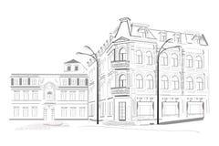 Reeks schetsen van straten vector illustratie
