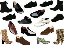 Reeks schoenen die op wit wordt geïsoleerda stock illustratie
