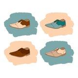 Reeks schoenen van mensen in uitstekende stijl Stock Foto's