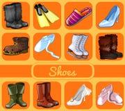 Reeks schoenen voor alle seizoenen en gelegenheden vector illustratie