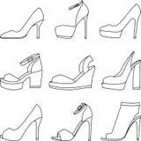 Reeks schoenensilhouetten op witte achtergrond Royalty-vrije Illustratie