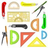 Reeks schoolinstrumenten. Stock Afbeelding