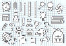 Reeks schoollevering Vector illustratie royalty-vrije illustratie
