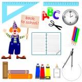 Reeks schoolpictogrammen. Stock Foto