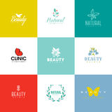 Reeks schoonheid en aardembleemmalplaatjes en pictogrammen Royalty-vrije Stock Afbeelding