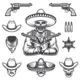 Reeks sheriff en bandietenelementen stock foto's