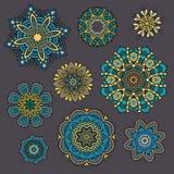 Reeks sier Bloemenelementen voor ontwerp Royalty-vrije Stock Foto's