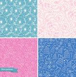 Reeks sier leuke naadloze bloemenpatronen Decoratieve schoonheidsachtergronden Stock Foto
