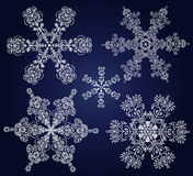 Reeks siersneeuwvlokken Stock Afbeelding