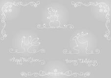 Reeks silhouetkerstmis en nieuwe jaarsymbolen Stock Foto