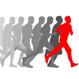 Reeks silhouetten Agenten op sprint, mensen Vector Royalty-vrije Stock Afbeelding