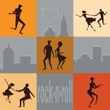 Reeks silhouetten dansende paren royalty-vrije illustratie
